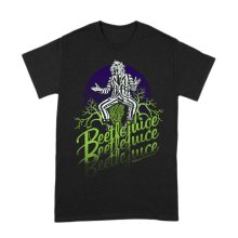 Men's Beetlejuice Logo Faded Black Crew Neck T-Shirt