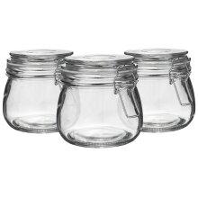 Glass Storage Jars Airtight Clip Top Lid Food Preserve Preserving Jar 500ml x6[White]