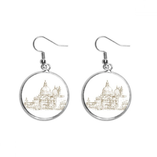Russia House Landmark Sketch Landscape Ear Dangle Silver Drop Earring Jewelry Woman