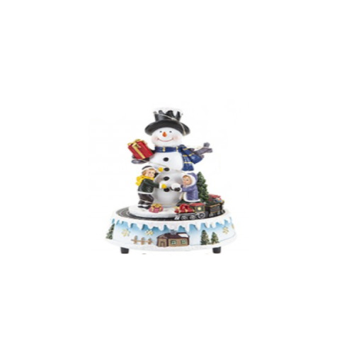 (Snowman) Revolving Musical Resin Xmas Scene With Train Christmas Decoration Village
