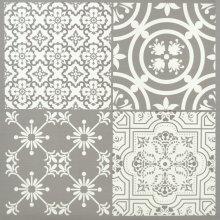 Floor Tiles Self Adhesive Vinyl Flooring Kitchen Bathroom Patterned Light Grey