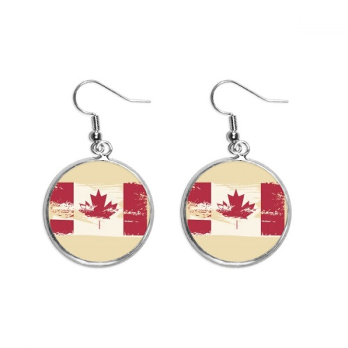 Canada Flavor Flag and Maple Leaf Ear Dangle Silver Drop Earring Jewelry Woman