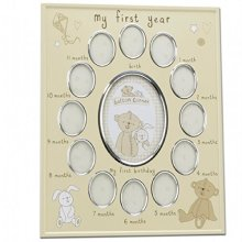 "Button Corner Aluminium Photo Frame ""My First Year"" New Born Baby CG784"