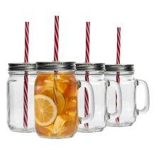 4 Mason Glass Jam Jar Drinking Cocktail Glasses with Straw & Lid, 450ml