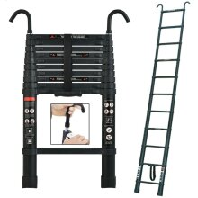 3.2M Telescopic Aluminum Ladder with Detachable Hook Protable Flexible Ladder EN131 Certified