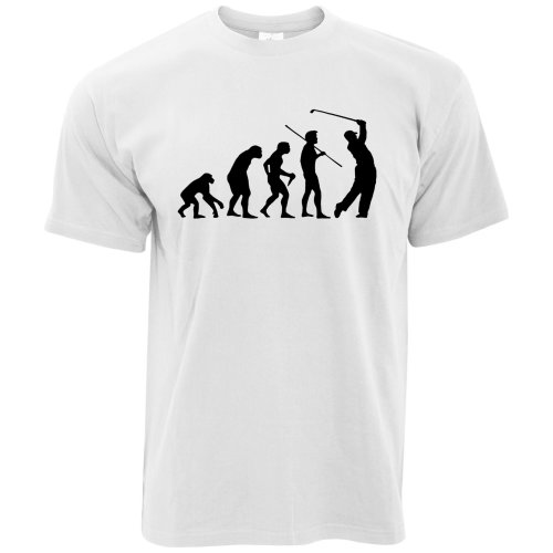 (4XL, White) Novelty Golf T Shirt Evolution Of A Golfer Sport Range Putt Game