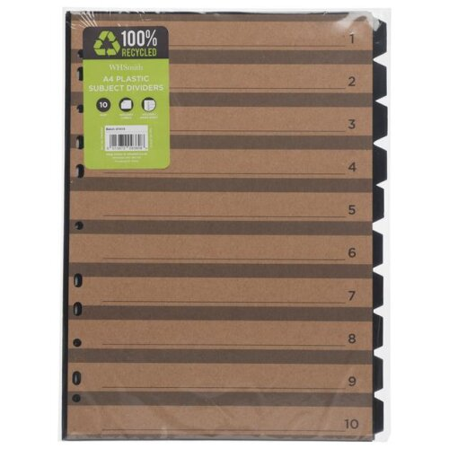 WHSmith Recycled Plastic 10 Part A4 Subject Dividers With Labels & Index Sheet