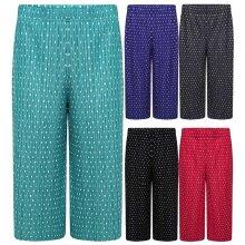 Women 3/4 Polka Dot Print Trouser Crinkle Culottes