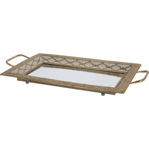 Large 62cm Rectangular Art Deco Rustic Serving Mirrored Metal Tray