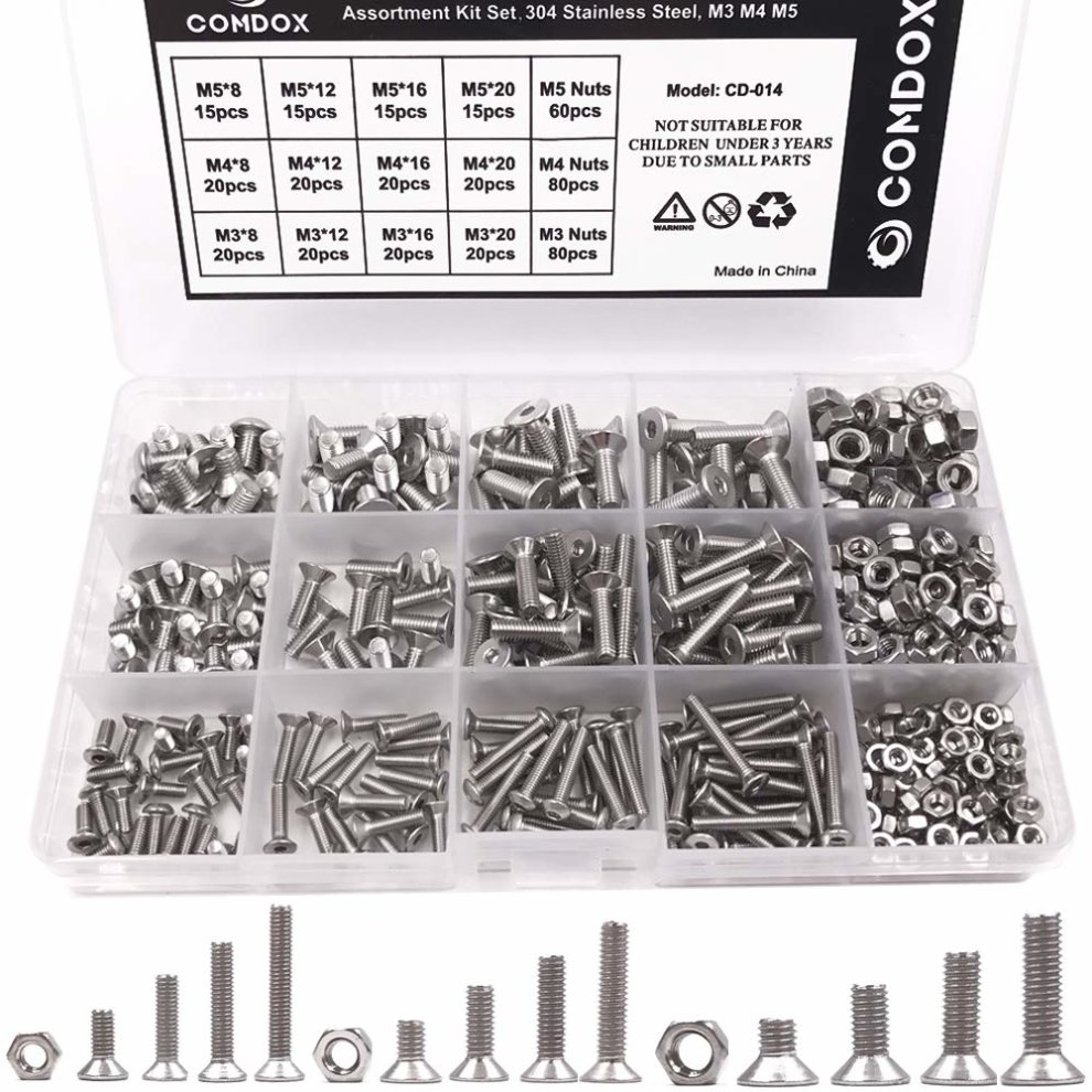 500PCS Stainless Steel Head Socket Hex Set Cap Screw Bolt Nuts Assorted Box Kit~