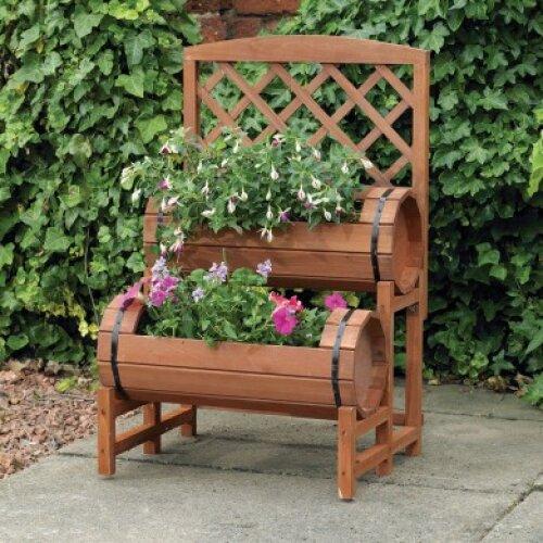 (Natural) Double Barrel Wooden Garden Planter