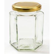 Nutley's 280 ml Hexagonal Glass Jam Jars with Gold Lids (24-Piece)