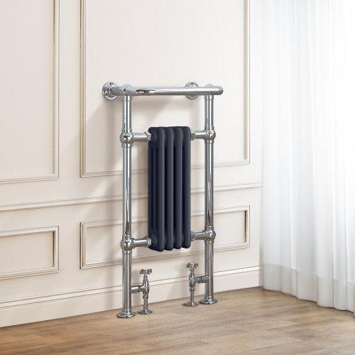 Salzburg Traditional Victorian 952 x 479mm Chrome & Grey Towel Rail Radiator