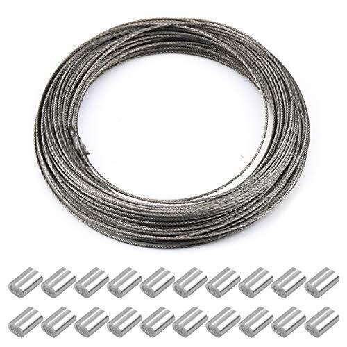 1.5 mm x 30 m Stainless Steel Wire Picture Frame Hanging Wire Heavy Duty Garden Craft Wire Cable Strong Wire Rope with 20 Aluminum Crimping Sleeves
