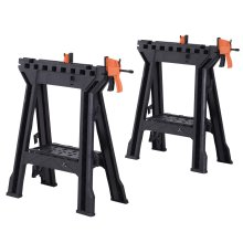 Foldable Clamping Sawhorse Trestle Twin Support Bars Cutting Stands