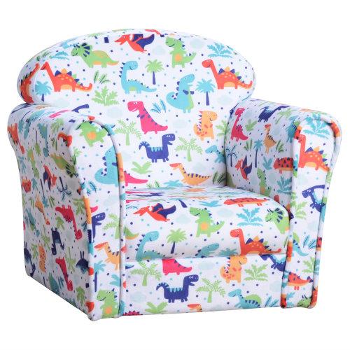 HOMCOM Children's Armchair Kids Sofa Tub Chair Seat Cartoon Flannel Wooden