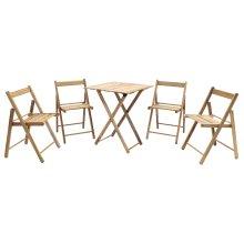 Tramontina Teak Wood Bistro Set - Table & 4 Chairs - Folding Outdoor Furniture Set