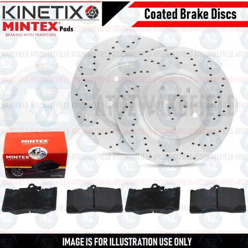 FOR LEXUS RC300h 2014- FRONT CROSS DRILLED BRAKE DISCS MINTEX PADS 334mm COATED