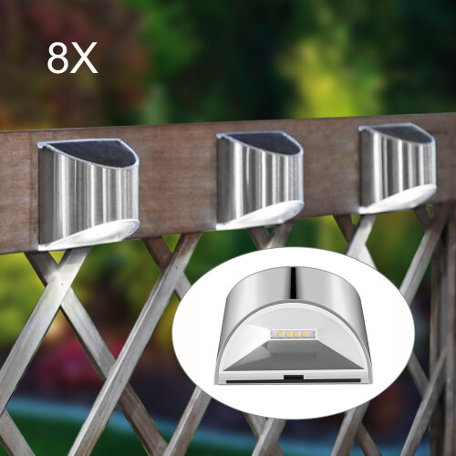 8Pc LED Solar Power Garden Fence Lights Wall Light Patio Outdoor Security Lamps