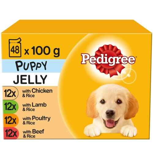 PEDIGREE Puppy Pouches Mixed Varieties in Jelly 12x100g (Pack of 4)