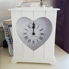 White Heart - Wooden Standing - Shabby Chic - Shelf/Mantel Clock