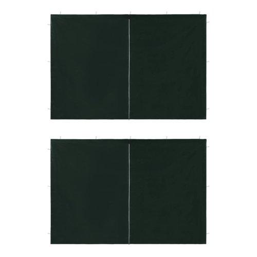 vidaXL Party Tent Sidewall 2 pcs with Zipper PE Green