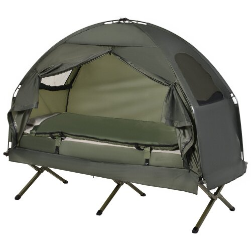 Outsunny 4-in-1 Foldable Camping Tent w/ Sleeping Bag Air Mattress Outdoor
