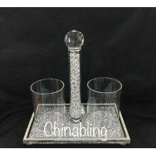 Silver Crushed Diamond Crystal Filled Spoon Holder MakeUp Brush Pen Holder _UK