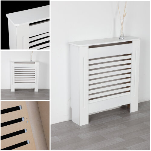 (Small) New Radiator Cover White Modern Traditional Wood Grill Shelf Cabinet Furniture