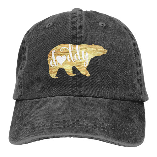 Gold Heart Daddy Bear Denim Baseball Caps