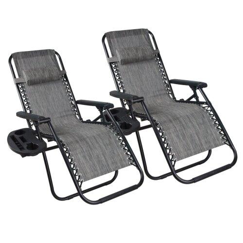 (Grey) BIRCHTREE Folding Garden Patio Chair Sun Lounger Recliner Zero Gravity Set of 2