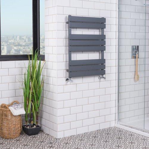 Juva 800 x 600mm Sand Grey Flat Panel Heated Towel Rail