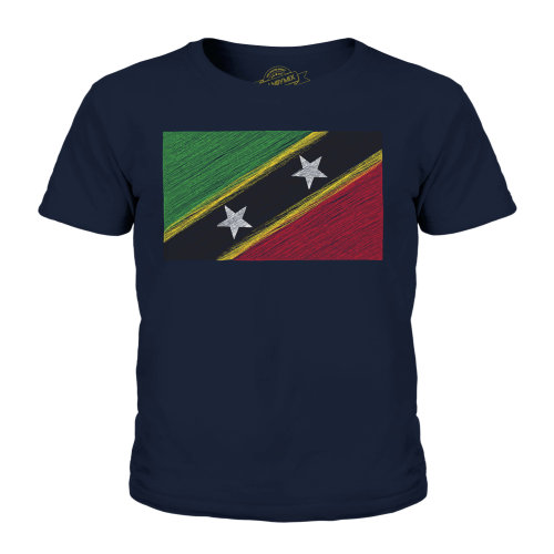 Candymix - Saint Kitts And Nevis Scribble Flag - Unisex Kid's T-Shirt