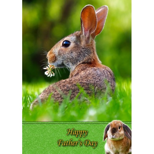"""Rabbit Father's Day Greeting Card 8""""x5.5"""""""