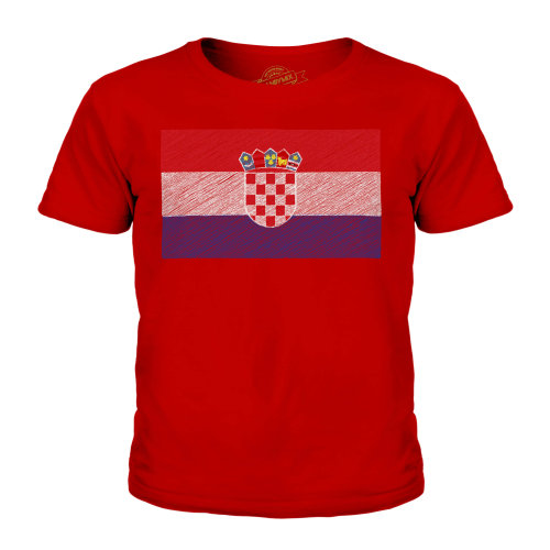 (Red, 3-4 Years) Candymix - Croatia Scribble Flag - Unisex Kid's T-Shirt