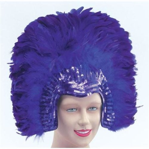 Purple Deluxe Feather Headdress Fancy Gold Black Carnival Purple