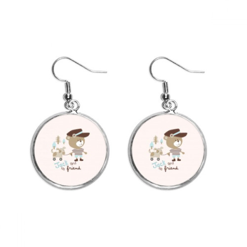 Cartoon Bear Animal Pink Ear Dangle Silver Drop Earring Jewelry Woman