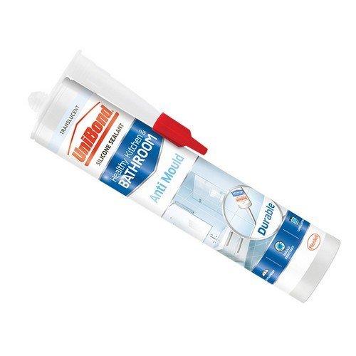 Unibond 2079323 Anti-Mould Kitchen & Bathroom Sealant Cartridge Translucent 274g