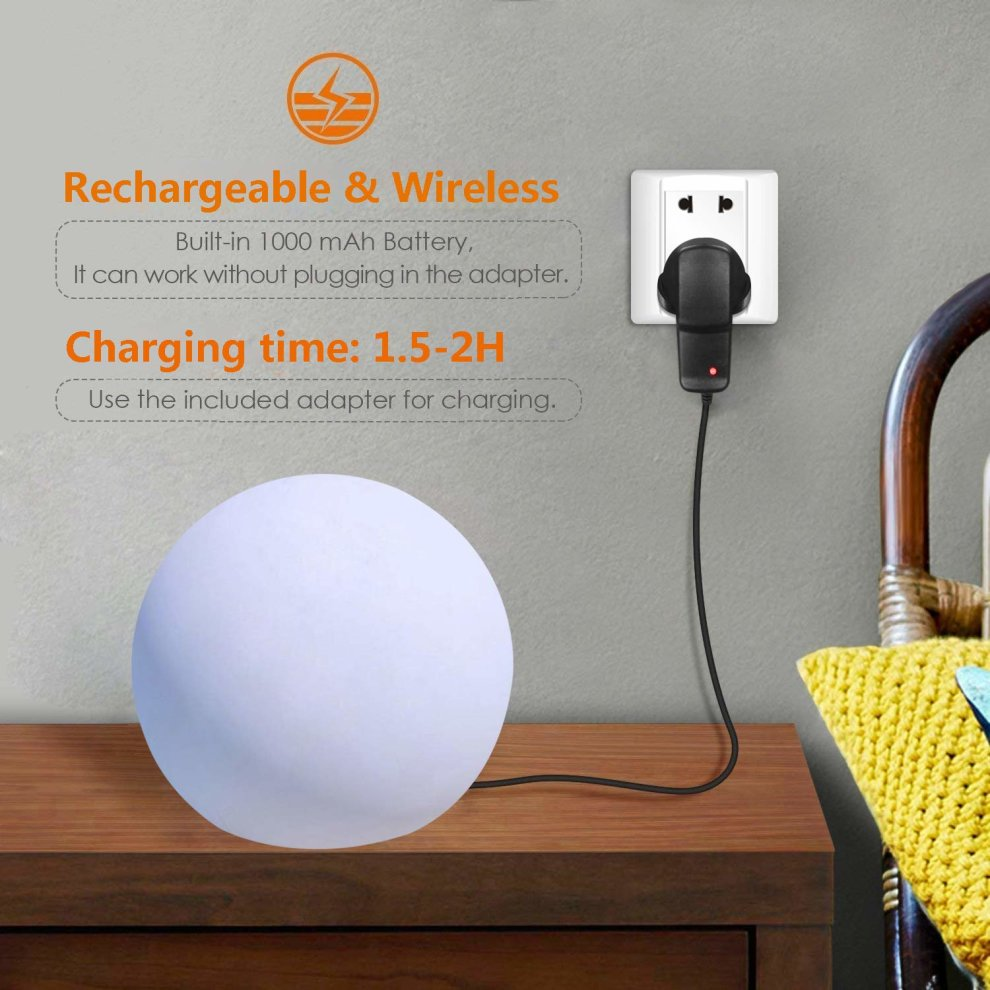 Rechargeable Battery Operated Bedside Table Lamp for Kids Bedroom 16 Adjustable RGB Colours 8 Dimmable Brightness 25cm Led Mood Ball Lamp // Colour Changing Ball Light with Remote Control