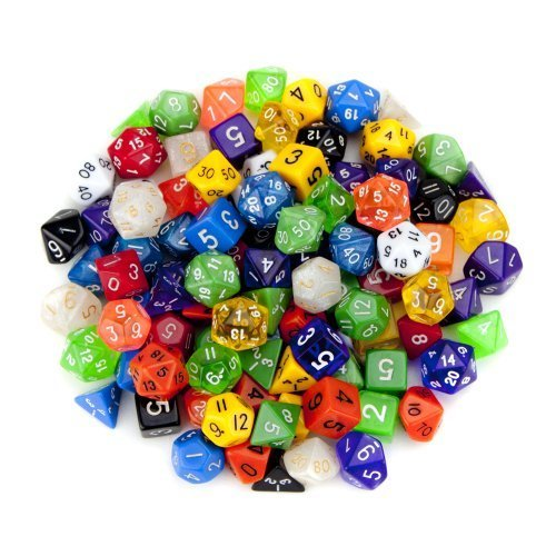 Wiz Dice Random Polyhedral Dice in Multiple Colors 100 Pack Bundle with Wiz Dice Pouch