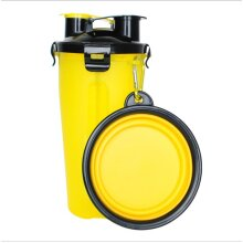 2 in 1 Portable Pet Travel Water Bottle Food Container with Foldable Food Bowl Cat Dog Puppy Camping Stuff YELLOW COLOR