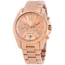 Michael Kors Ladies Bradshaw Chronograph Watch Rose Gold Tone Strap MK5503