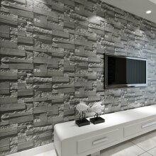 Modern Stacked 3D Stone Wallpaper Roll Grey Charcoal Brick Slate Wall Effect 10M