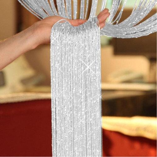 TRIXES Dew Drop Silver String Door Divider and Window Curtain Panel 90x200cm Festive Seasonal Decoration