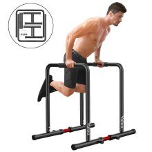 YOLEO 500lbs Adjustable Dip Bar Portable Dip Station Functional Dip Stand &Safety Connectors, Body Press Calisthenics Parallette Bar Equalizer