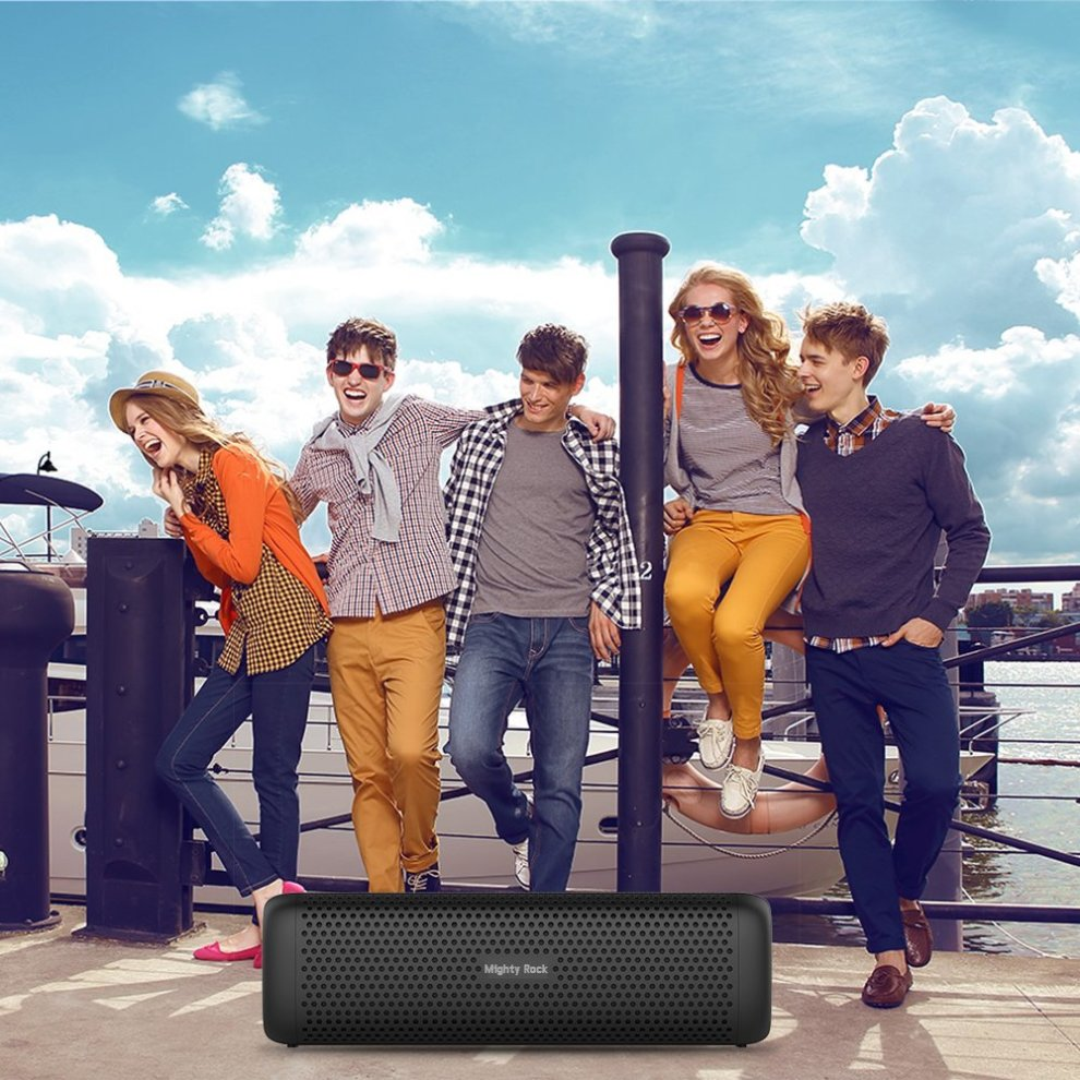 12 Hours Playtime and Strong Aluminum-Alloy Shell Support TF Card Mighty Rock 6110 Bluetooth Speakers Portable Wireless Speaker with 16W Rich Deep Bass