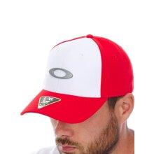 Oakley White-Red Tincan Curved Peak Flexfit Cap - L/XL