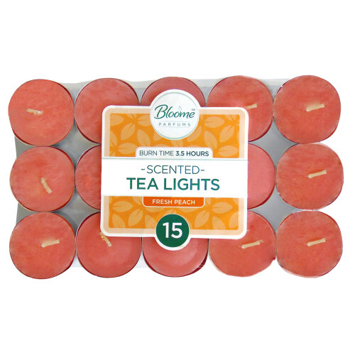 (PEACH) Scented Tea Light Candles 15 Pack