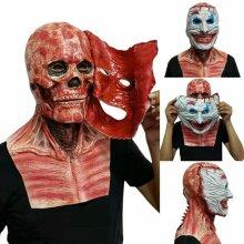Halloween Scary Tear Off Joker Moving Jaw Skull Dual Layer Full Head Latex Mask