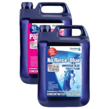 Twin Pack - No-Rinse Blue Chemical Fluid & Pink Toilet Rinse 10L | Chemiphase Ltd